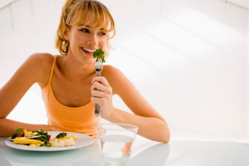 Woman eating a balanced meal