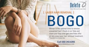 Buy one get one free on laser hair removal