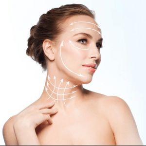 Picture of woman touching her neck with arrows contouring face and head